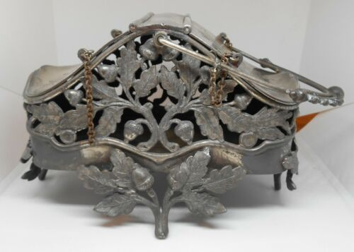Pairpoint Oak & Acorn Trinket Basket Footed Quad Silverplate #915 RARE!