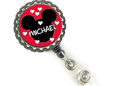 Personalized Badge Holders (Mickey mouse Personalized w/ur name  work Retractable Reel ID Badge Holder)