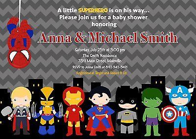 Superhero, Batman, Superman, Spiderman, Baby Shower Invitation (Superhero Baby Shower Invitations)
