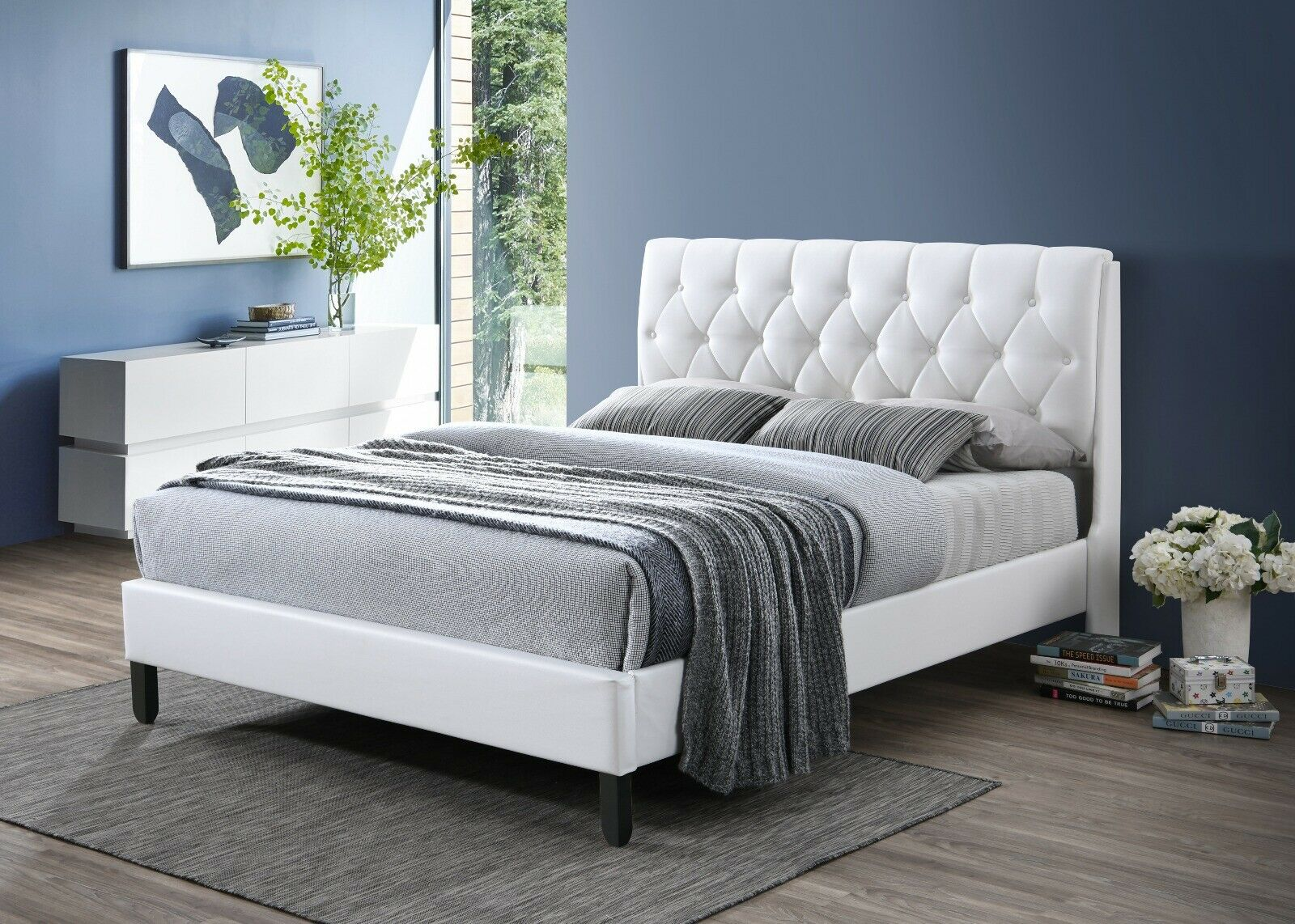 MALKO White Faux Leather Platform Bed with Built in Box Spri