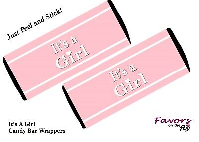 12 It's a Girl Candy Bar Wrappers for Baby Shower Announcement Favors