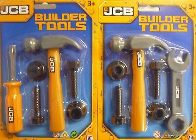 JCB Toy Tool Set 6 Builders Tools (Hammer, Nuts, Bolts, Screwdriver or Spanner) ()