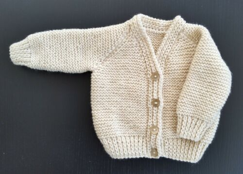 BABY CARDIGAN,  PALE BEIGE, 0-3 MONTHS, PLAIN KNIT, HAND KNITTED, NEW