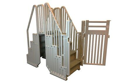 Swimming Pool Stairs - Confer Plastics Above Ground Gray Swimming Pool System w/ Steps & Closure Kit