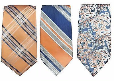 Dockers Men's Neck Tie Orange Glen Plaid Stripe Paisley Patterned Neckties NEW