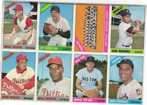 1966 Topps Uncut Sheet 9 Cards Bill White/Mike Ryan/Versalles/Pirates/Mauch/ Vg