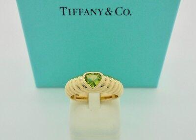 Authentic Tiffany & Co. Friendship Green Heart Peridot Yellow Gold Ring - (Tiffany And Co Friendship)