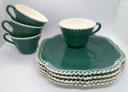 Harkerware Corintian Dark Teal Snack Plate Set & Cups