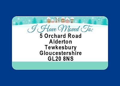 40 GLOSSY CHANGE OF ADDRESS LABELS MOVING HOUSE  CHRISTMAS CARD STICKERS](change of address labels)
