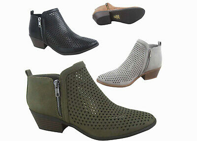 NEW Women's Fashion Pointed Toe Western  Ankle Low Heel Side Zip Booties Shoes  - Low Heel Bootie