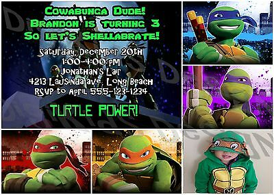 Ninja Turtles Personalized Birthday Party Invitations and Thank You Card (DIY) - Ninja Turtle Party Invitations