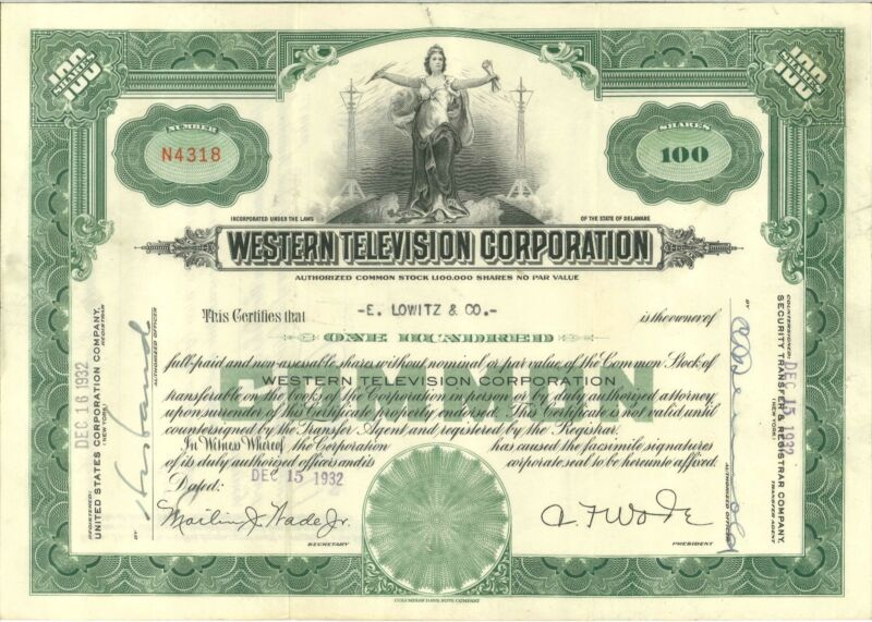 Western Television stock certificate from 1932