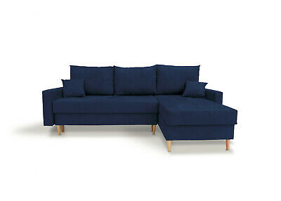 Corner Sofa Bed with Storage Compartment Scandinavian Style Blue Fabric