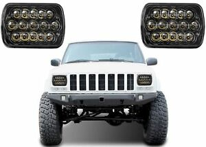 2 7x6 Cree 15 Led Black Headlights For Jeep Cherokee Xj Yj