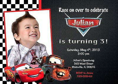 Cars Birthday Invitations (Cars, Lightning McQueen, Tow Mater, Birthday Party)