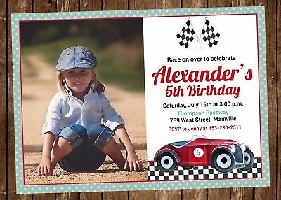 Race Car Invitations (Vintage Race Car Birthday Party Invitation - Printable or)