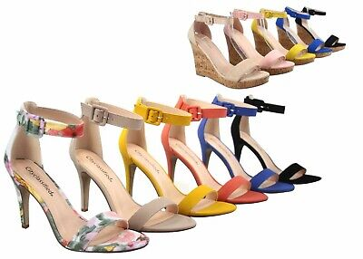 NEW Womens Open Toe Wedge High Heel Ankle Strap Buckle Dress Pump Sandals 5 - 11 ()