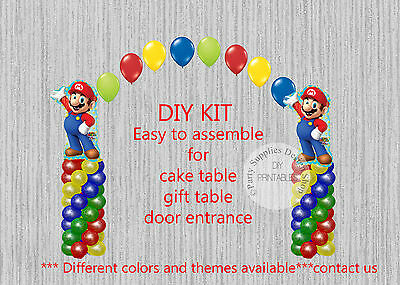 Super Mario Brothers BALLOON ARCH with COLUMNS Birthday Party Decorations (Super Mario Brothers Decorations)