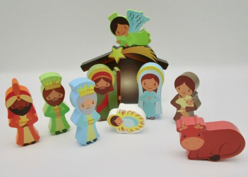 Nativity set children childs wooden wood painted 10 piece colorful Christmas kid