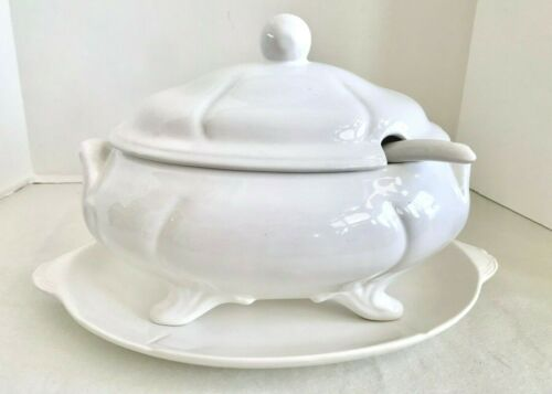 Loucarte Portugal White Footed Soup Tureen with Under Plate and Ladle