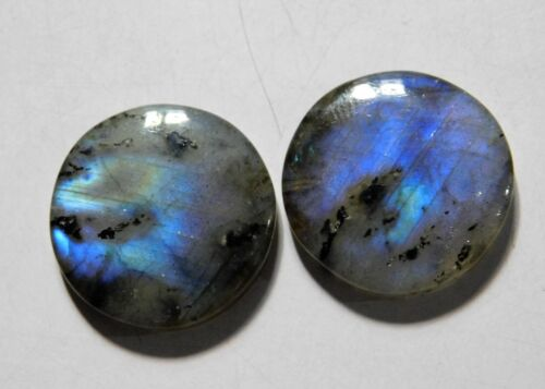 46.60 Cts Natural Labradorite (23mm X 23mm each) Cabochon Match Pair