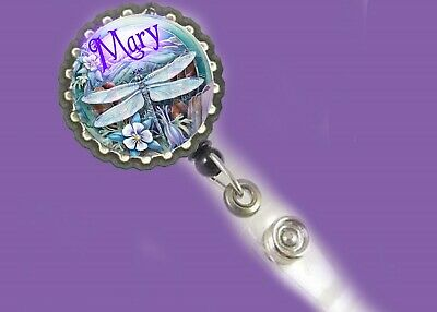 cute dragonfly Retractable Reel ID Badge holder personalized w/ur name Rn Nurse