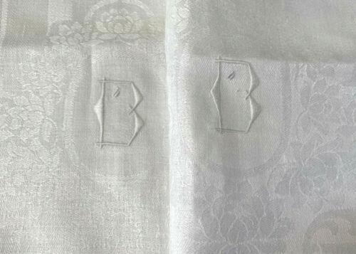 "pair fine quality antique linen damask towels 33x18"" w Art Deco initial B, ivory"