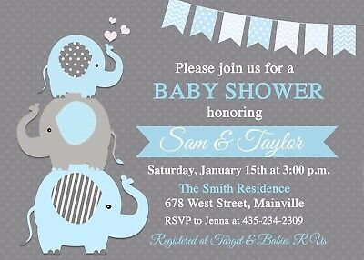 Elephant Baby Shower Invitation, Baby Boy, Boy, Boy Elephant, Blue (Baby Shower Invites Boy)