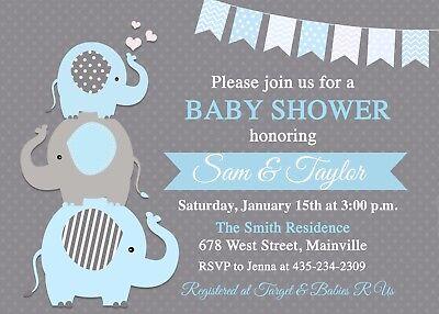Elephant Baby Shower Invitation, Baby Boy, Boy, Boy Elephant, Blue