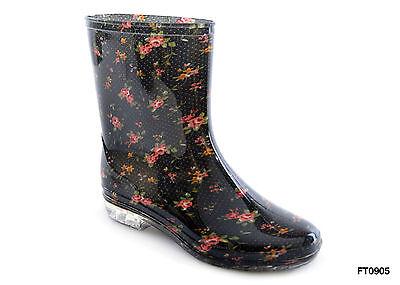 Ladies Short Floral / Flower Print Wellies Wellington Boots ()