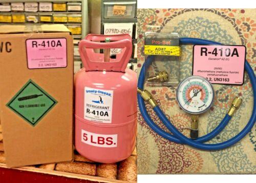410a, R410 Refrigerant, 5 lb., Best Value eBay, FAST FREE SHIP, Gauge & Hose Kit