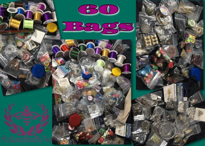 BEADS & FINDINGS 60 bags HUGE MIX Jewelry Making Supplies LOT 👑🐝 MrsQueenBeead