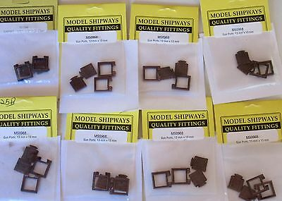 Model Ship Accessories Fittings Bronze Gunport Frame with Lid (13x13mm) 8 Packs