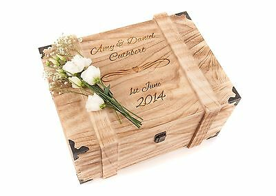 Personalised Engraved Wedding Wooden Keepsake Memory Chest Memory Box Vintage