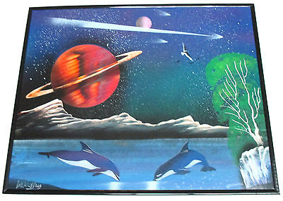 ARTURO CRUZ SIGNED MIXED-MEDIA SPRAY CAN PAINTING, KILLER WHALES & SATURN