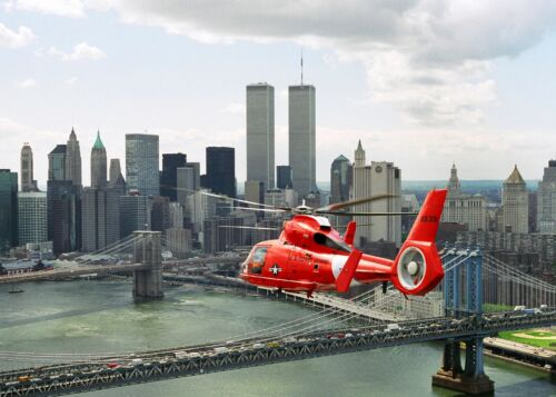 1998 U.S. Coast Guard  Dolphin Helicopter Flies by World Trade Center Building