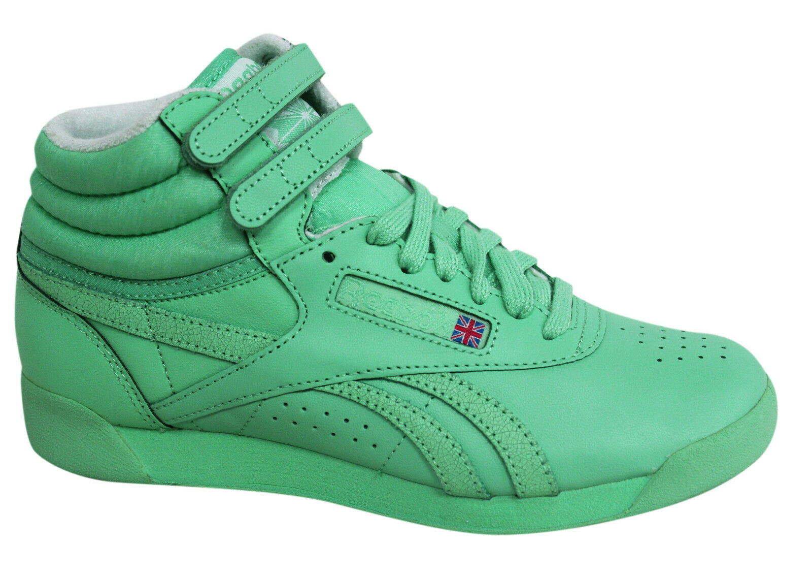 b4913be9a2e1 Reebok F S Classic Spirit Lace Up Mint Green Womens Hi Tops Trainers ...
