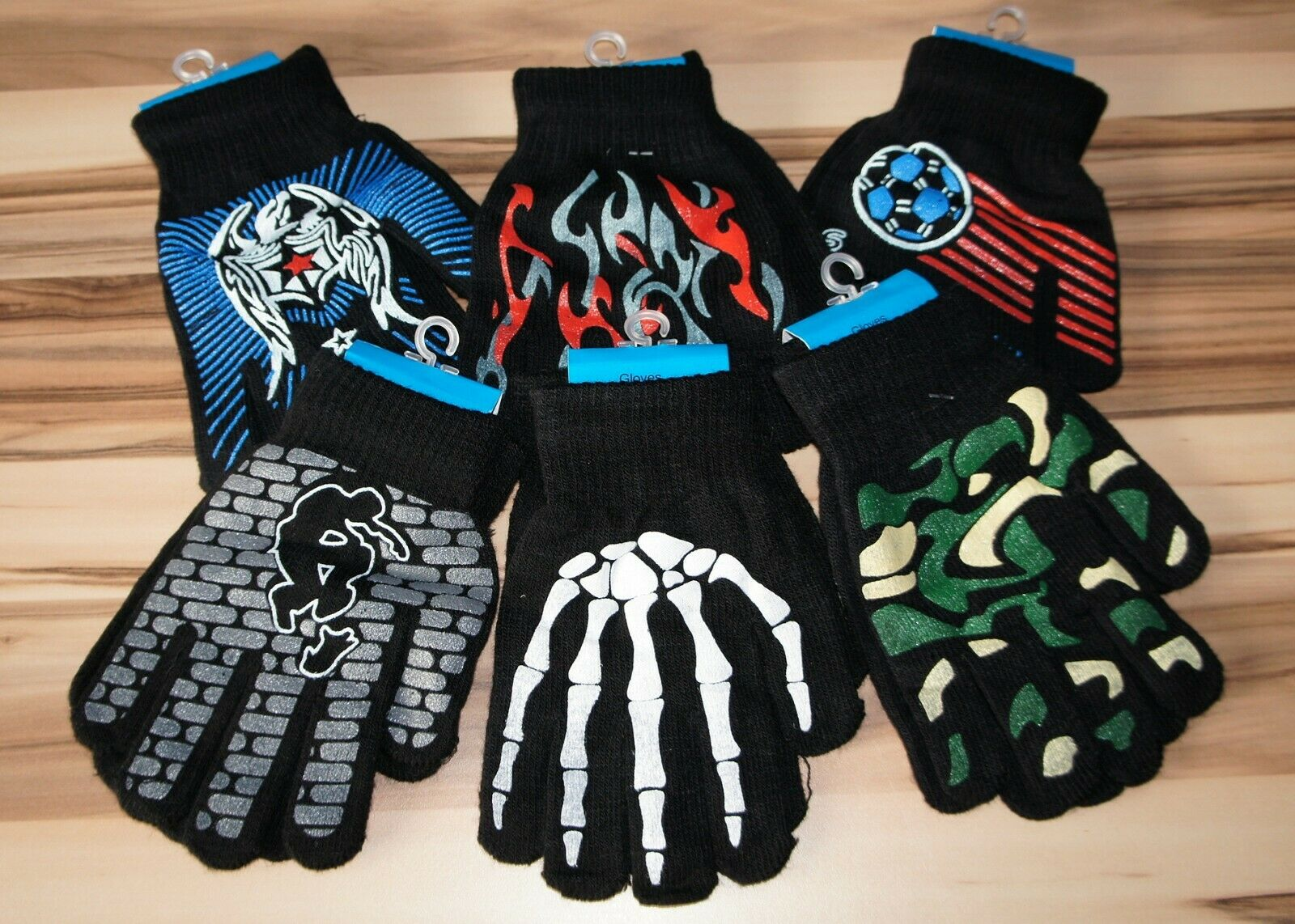 Jungen Handschuhe Schwarz 6 Motive Kinder Handschuhe Skelett Fußball Tribal