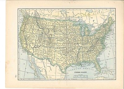 1942 Vintage UNITED STATES or ILLINOIS Map ready to frame for art