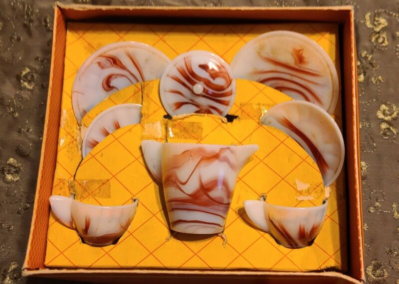 Rare Early Play-Time No. 1020 Maroon Akro Agate 8 Pc. Childs Tea Set Orig Box