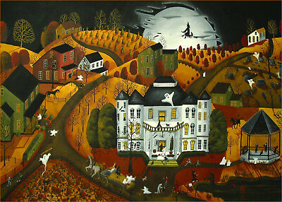 Halloween Trick Or Treat monster ghost witch Giclee ACEO print folk art Criswell](Halloween Folk Art Paintings)