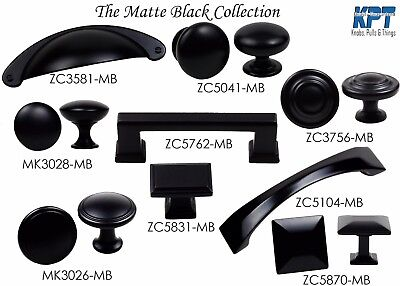 (Knob Handle Pulls Collection in Matte Black Kitchen/Bath Cabinet Hardware by KPT)