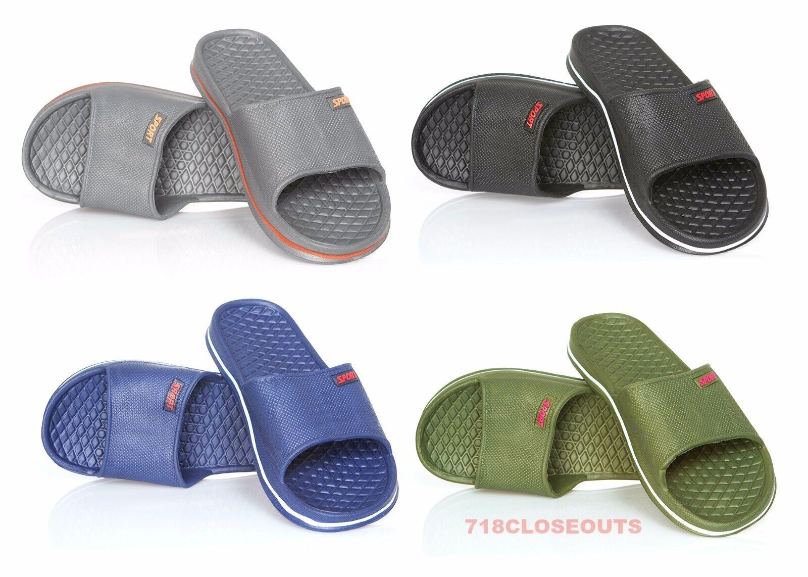 Mens Slip On Sport Slide Sandals Flip Flop Shower Shoes Slip