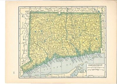 1942 Vintage CONNECTICUT Map ready to frame for art