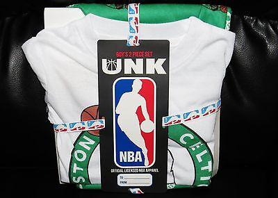 Boston Celtics Shirt Pants NEW Gift Set Boys 4-6 NBA Store Kids Lounge Tee 4 XS
