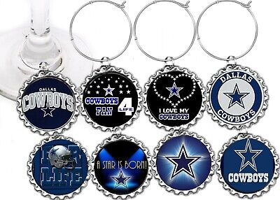 dallas cowboys Football decor party theme wine charms markers 8 party favors](Football Themed Favors)