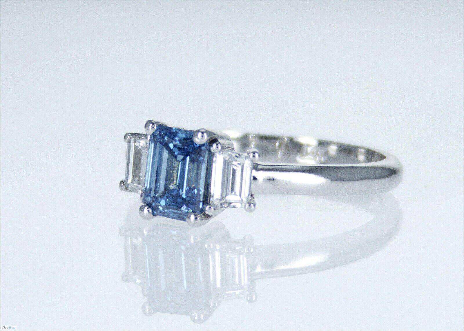 1.26 CT Vivid Greenish Blue VS2 GIA CERTIFICATE Natural Diamond Engagement Ring 1