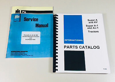 International Farmall Super A Av Tractor Service Manual Parts Catalog Set