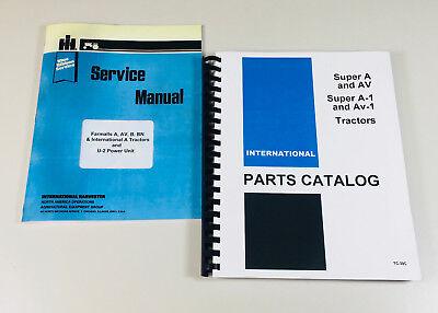 International Farmall Super A Av Tractor Service Manual Parts Catalog Set