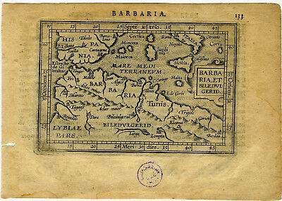 1609 Genuine Antique miniature map Barbaria, Barbary coast, N. Africa. Ortelius
